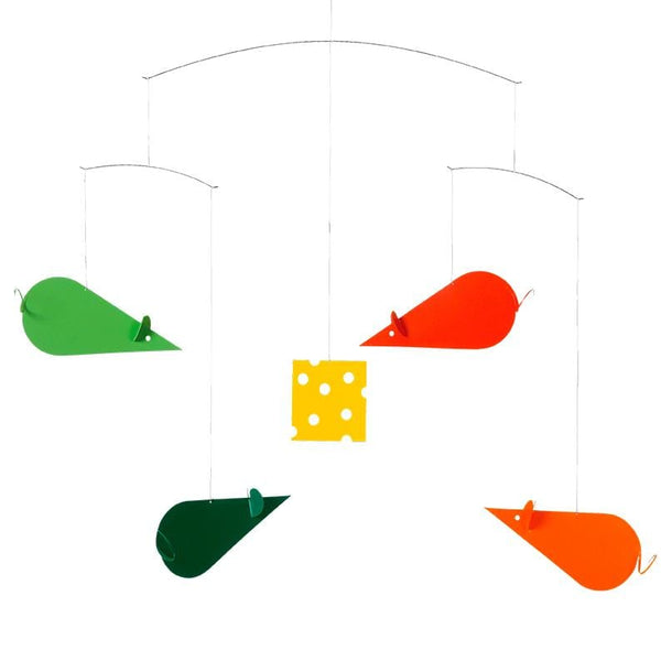 Flensted Mobiles Cheese Mice Mobile Green/Orange