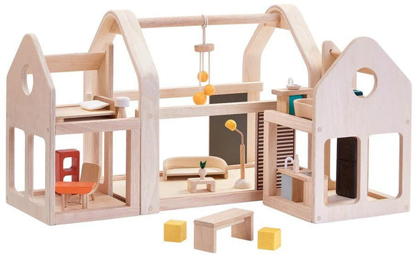 Plan Toys Side 'n' Go Wooden Dollhouse Set