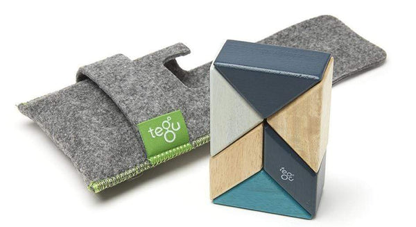 Tegu Prism Pocket Pouch 6 Magnetic Blocks Blues