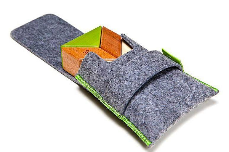 Tegu Prism Pocket Pouch 6 Magnetic Blocks Jungle