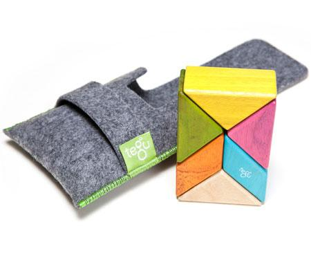 Tegu Magnetic Travel Blocks Pocket Pouch Prism Tints