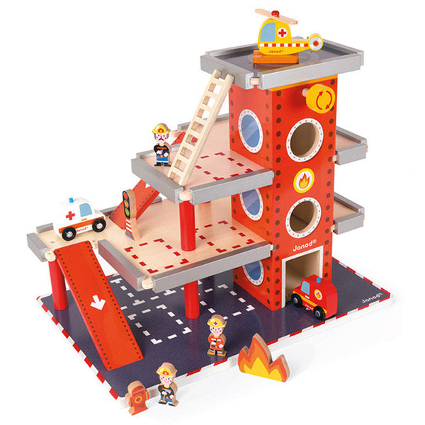 Wooden Fire Station Set - Janod