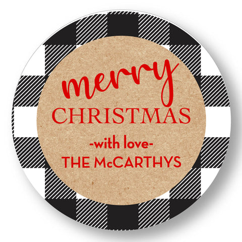 Holiday Gift Sticker Black and White Plaid