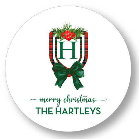 Holiday Gift Sticker Classic Crest Plaid Initial