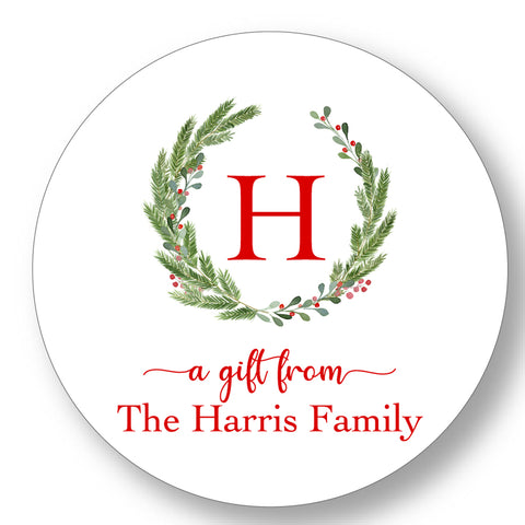 Holiday Gift Sticker Round Initial Wreath