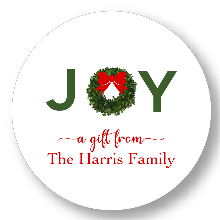 Holiday Gift Sticker Joy Red Bow