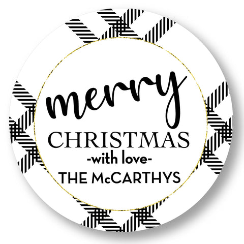 Holiday Gift Sticker Classic Modern Plaid black and white