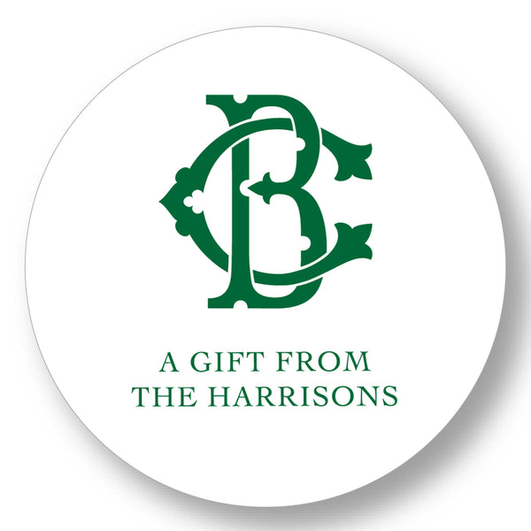 Holiday Gift Sticker Monogram Interlocking (More Colors Available)