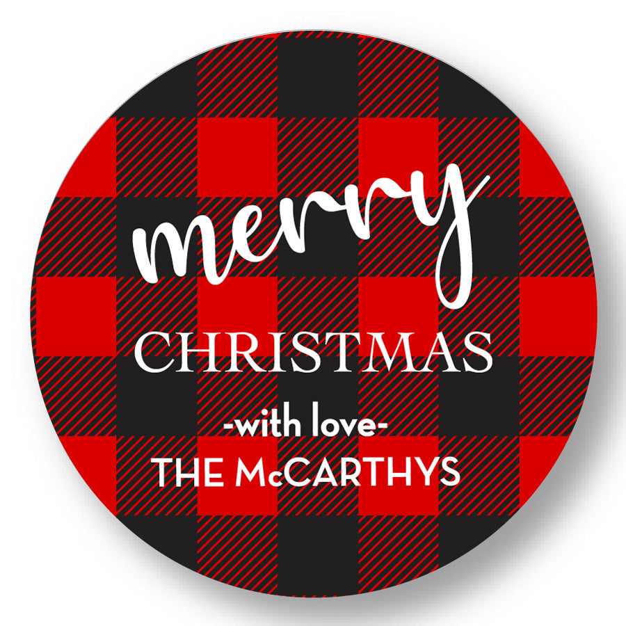 Holiday Gift Sticker Red and Black Plaid