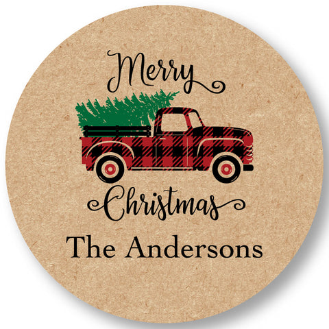 Holiday Gift Sticker Red Holiday Truck