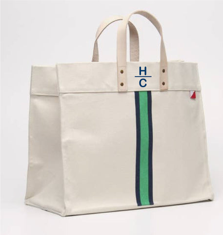 Copy of Box Tote -Green + Navy Stripes