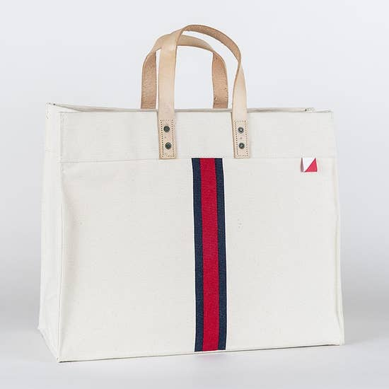 Box Tote - Red + Navy Stripes