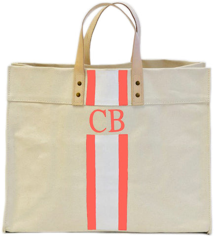 Large Canvas Tote - Monogram + Stripes