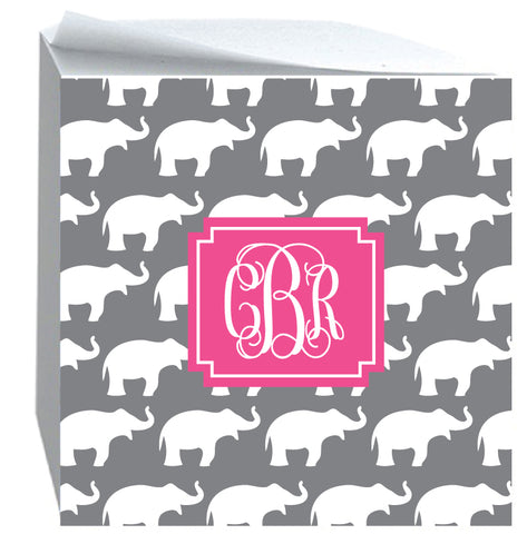 Post it Note Cube Elephant pattern Grey