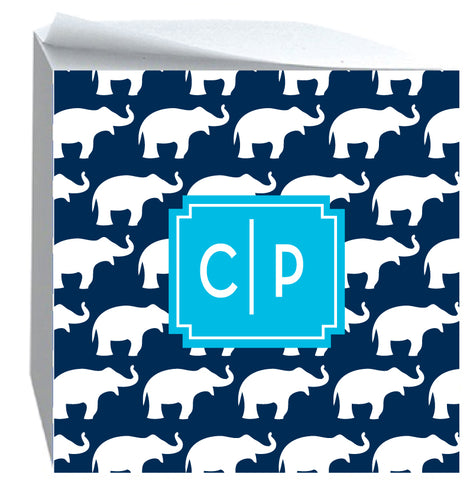 Post it Note Cube Elephant pattern Navy