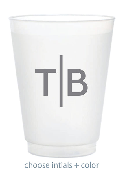 Custom Frosted Cup - Horizontal Bar Monogram