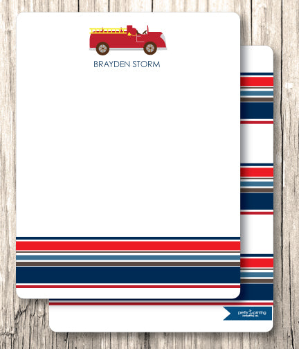 Notecard Double Sided - Fire Truck
