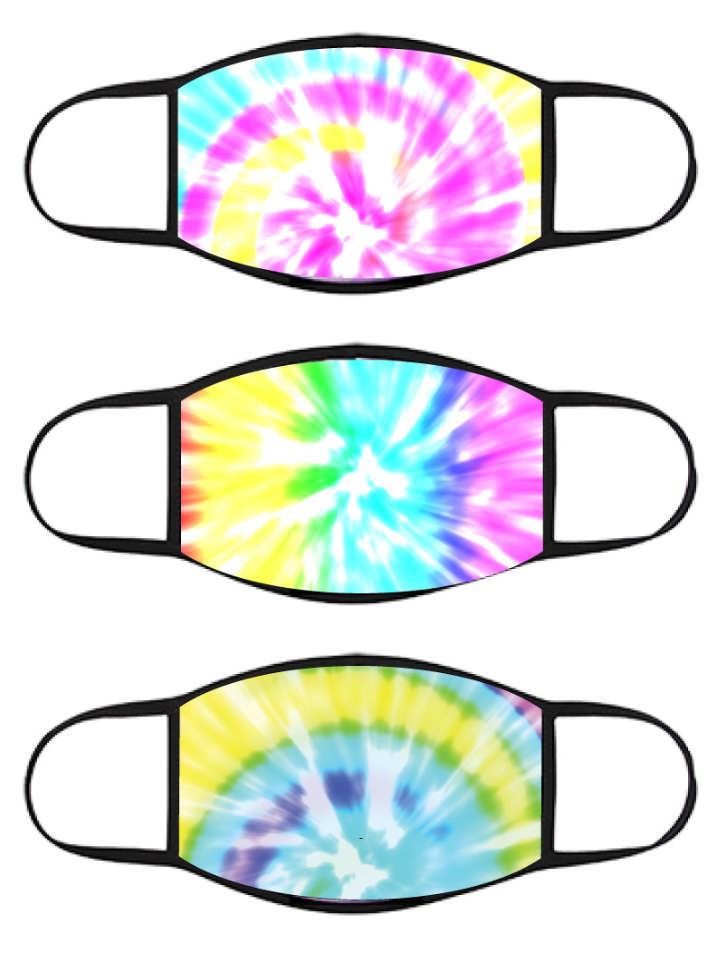 FACE MASK - Three Pack - Pastel Rainbow TIE DYE