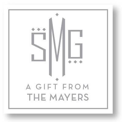 Gift Sticker Monogram Modern Square Dot White (more color options)