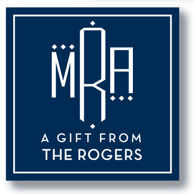 Gift Sticker Monogram Modern Square Dot Navy (more color options)