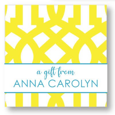 Gift Sticker Oval Trellis Yellow