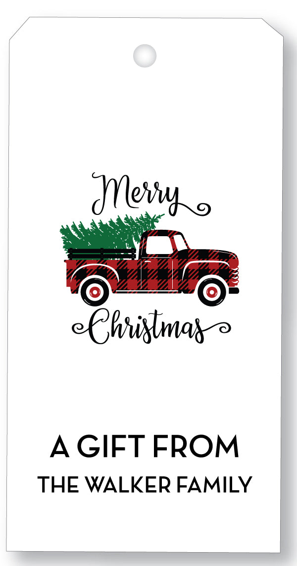 Holiday Gift Tag - Red Christmas Truck