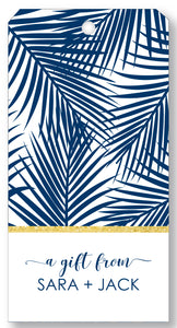 Gift Tag Palm Print Navy