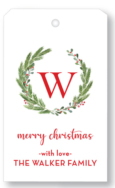 Gift Tag Holiday Christmas initial Wreath