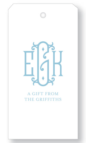 Gift Tag Monogram Royal (more color options)