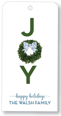 Holiday Gift Tag - Joy Wreath Toile Bow