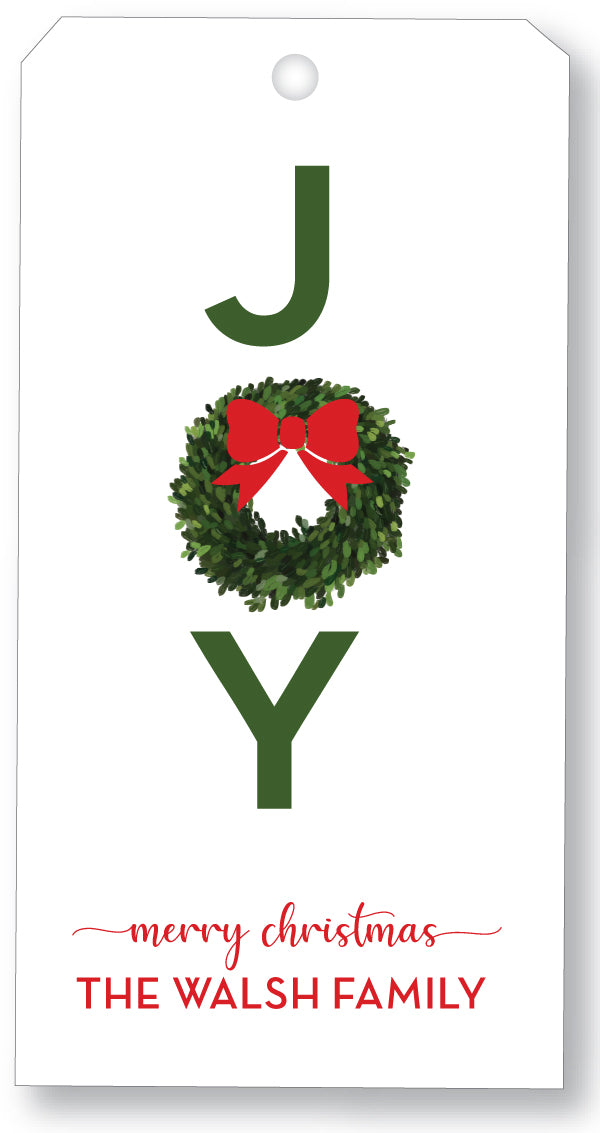 Holiday Gift Tag - Joy Wreath Red Bow