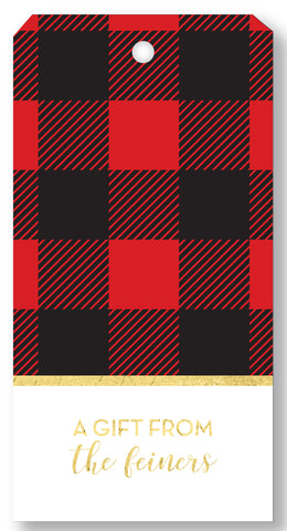 Gift Tag Buffalo Plaid Red
