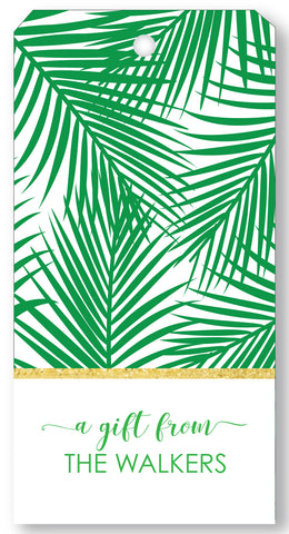 Gift Tag Palm Print Green