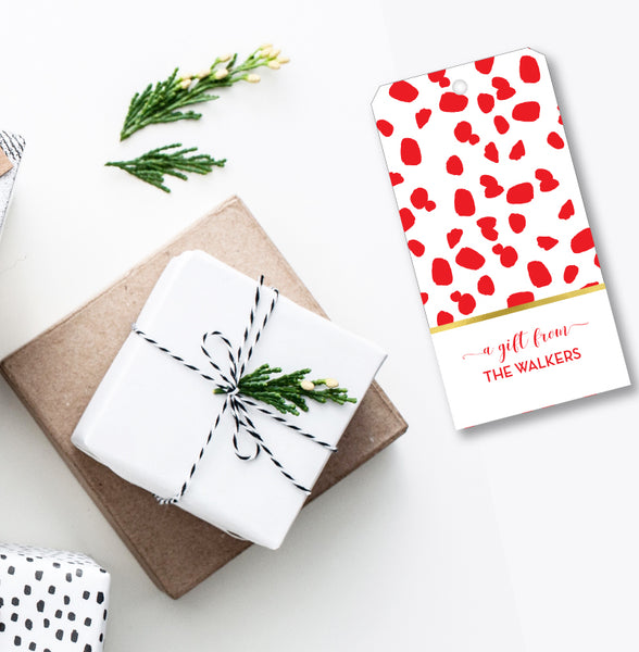 Gift Tag Chic Spots Red