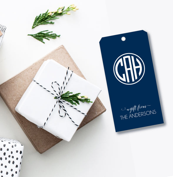 Gift Tag Circle Monogram (more color options)