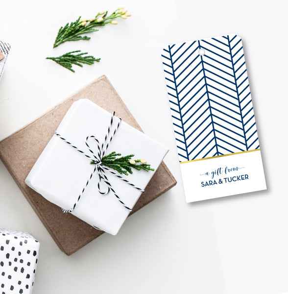 Gift Tag Herringbone Navy