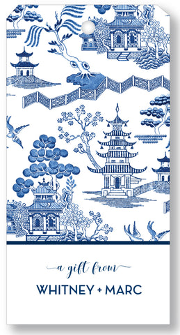 Gift Tag Chinoiserie Toile Blue
