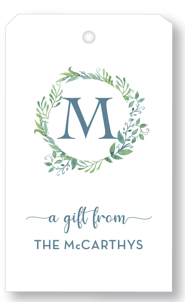 Gift Tag Watercolor Wreath blues