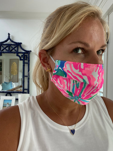 FACE MASK with filter - Palm Beach Print Pink