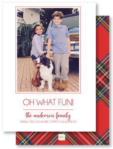 Holiday Photo Card Plaid Red