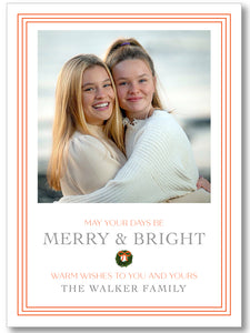 Holiday Classic Photo Card Triple Stripe Border Orange