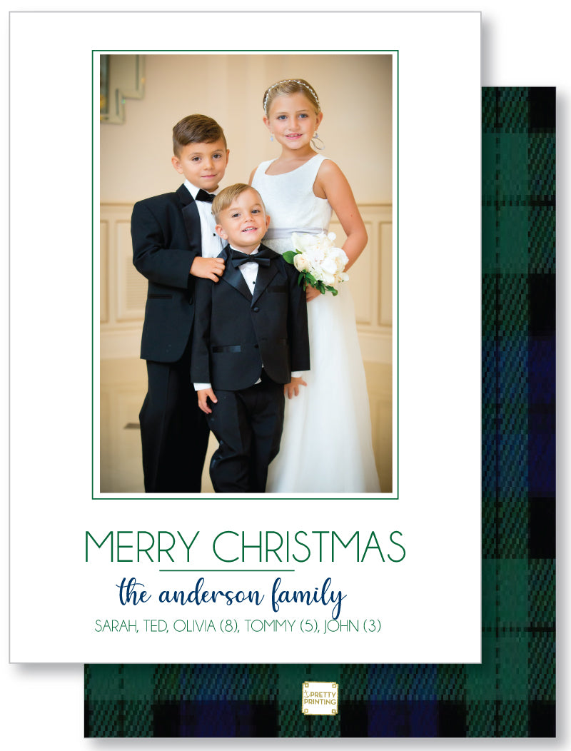 Holiday Photo Card Blackwatch Plaid