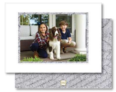 Holiday Photo Card Luxe Cable Knit Grey
