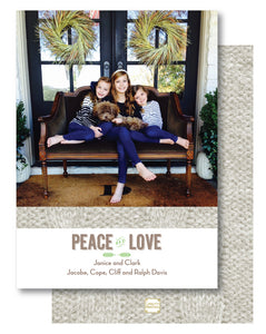 Holiday Photo Card Luxe Cable Knit Ivory