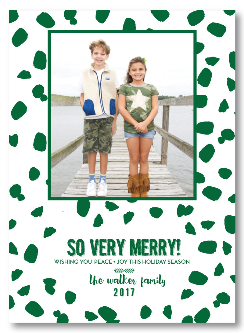 Holiday Photo Card Chic Spots Green