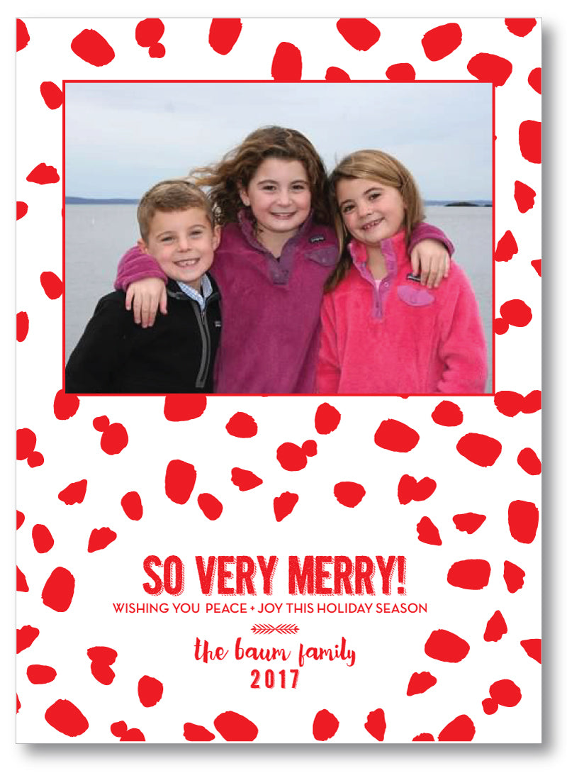Holiday Photo Card Chic Spots Red