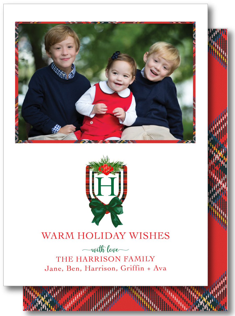 Luxe Holiday Classic 5x7 Holiday Crest Plaid Red