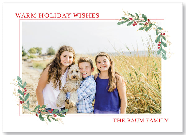 Holiday Photo Card Watercolor Greenery