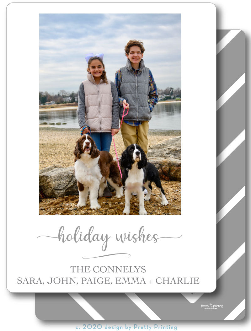 Holiday Photo Card Simple Chevron Grey