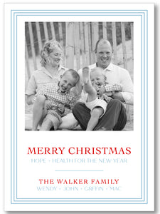 Holiday Classic Photo Card Triple Stripe Border - Pale Blue